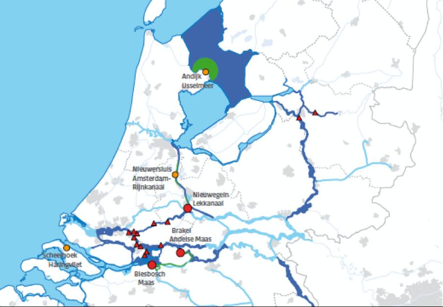Afbeelding 1. Overzicht van drinkwaterinnamepunten in oppervlaktewateren in Nederland (Rijkswaterstaat 2012).