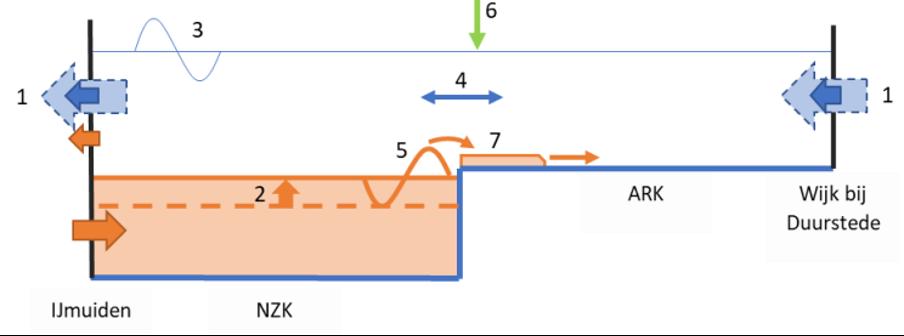 Afbeelding 8. Schematische weergave van de verziltingsdynamiek van het Noordzeekanaal – Amsterdam-Rijnkanaal (NZK-ARK). Door afname van het doorspoeldebiet (1) wordt minder zout afgevoerd naar zee, waardoor het systeem oplaadt en het NZK sterker verzilt raakt. Hierdoor komt de overgang tussen de zoute onderlaag en de zoete bovenlaag (2) hoger te liggen en ligt deze net onder de hoogte van de drempel naar het ARK, waarna het zoute water door een of meerdere processen (3, 4, 5) voorbij de drempel in de mondi